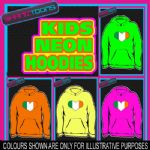 IRELAND IRISH FLAG LOVE RUGBY HEART NEON  ELECTRIC KIDS CHILDS HOODIE HOODY